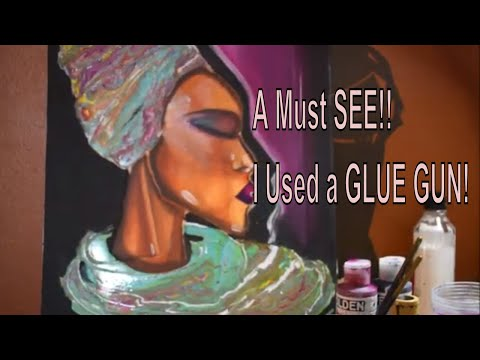 WOW New Acrylic Pour Painting using a Glue Gun | Fluid Painting | Portrait Painting | Jasvir Kambo
