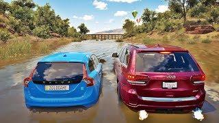 Forza Horizon 3 - Racha Na Água Com Os Carros De Tiozão - Volvo V60 Polestar VS Jeep Grand Cherokee