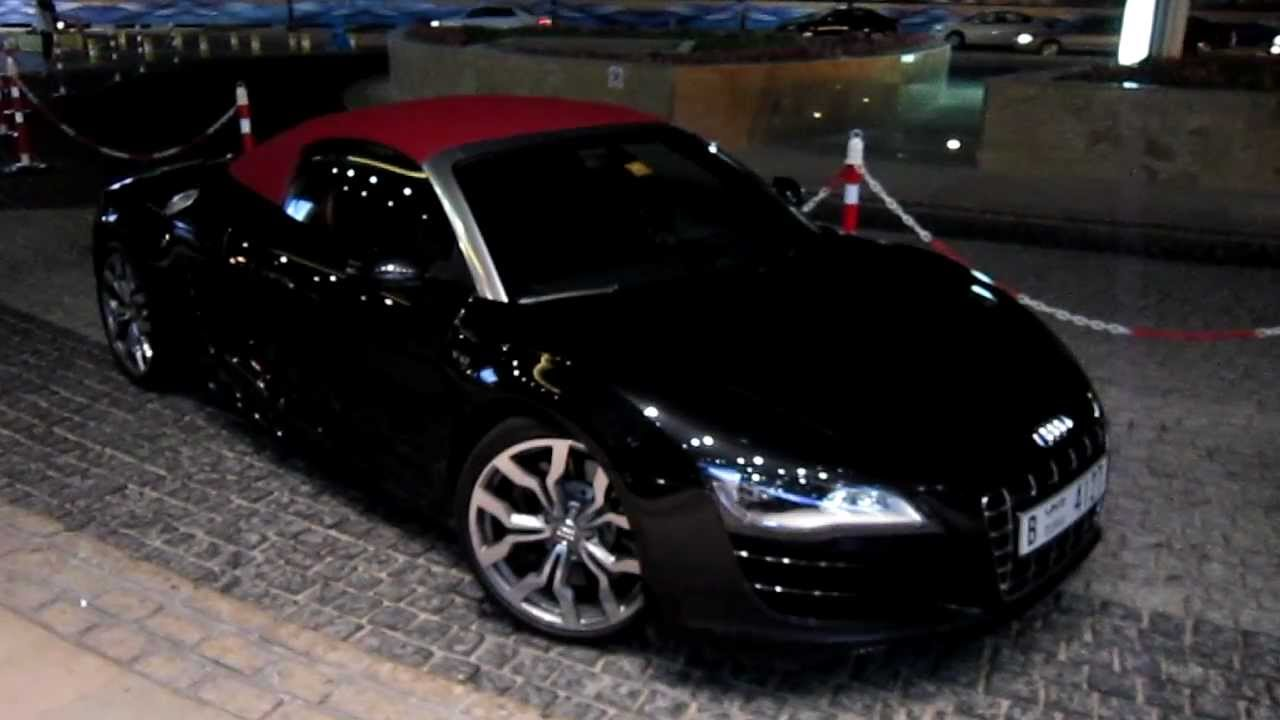 audi r8 v10 convertible black with red roof walk around dubai marina youtube. Black Bedroom Furniture Sets. Home Design Ideas