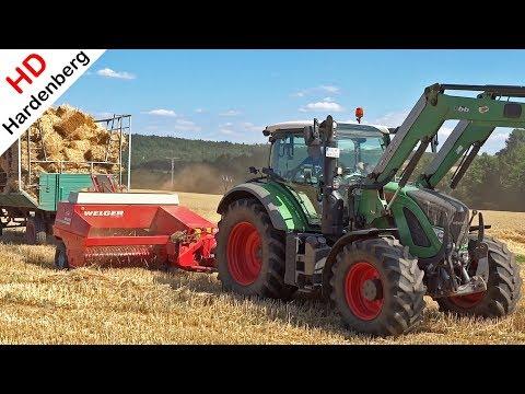 Pressing And Shooting Bales - Fendt 714 Vario + Welger AP 630 - Stro Balen Persen - Korbach - 2018.