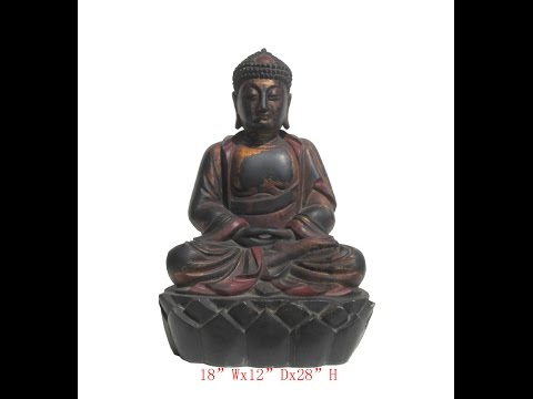 Color Lacquer Wood Hand Carving Chinese Antique Sitting Lotus Buddha Statue WK2861