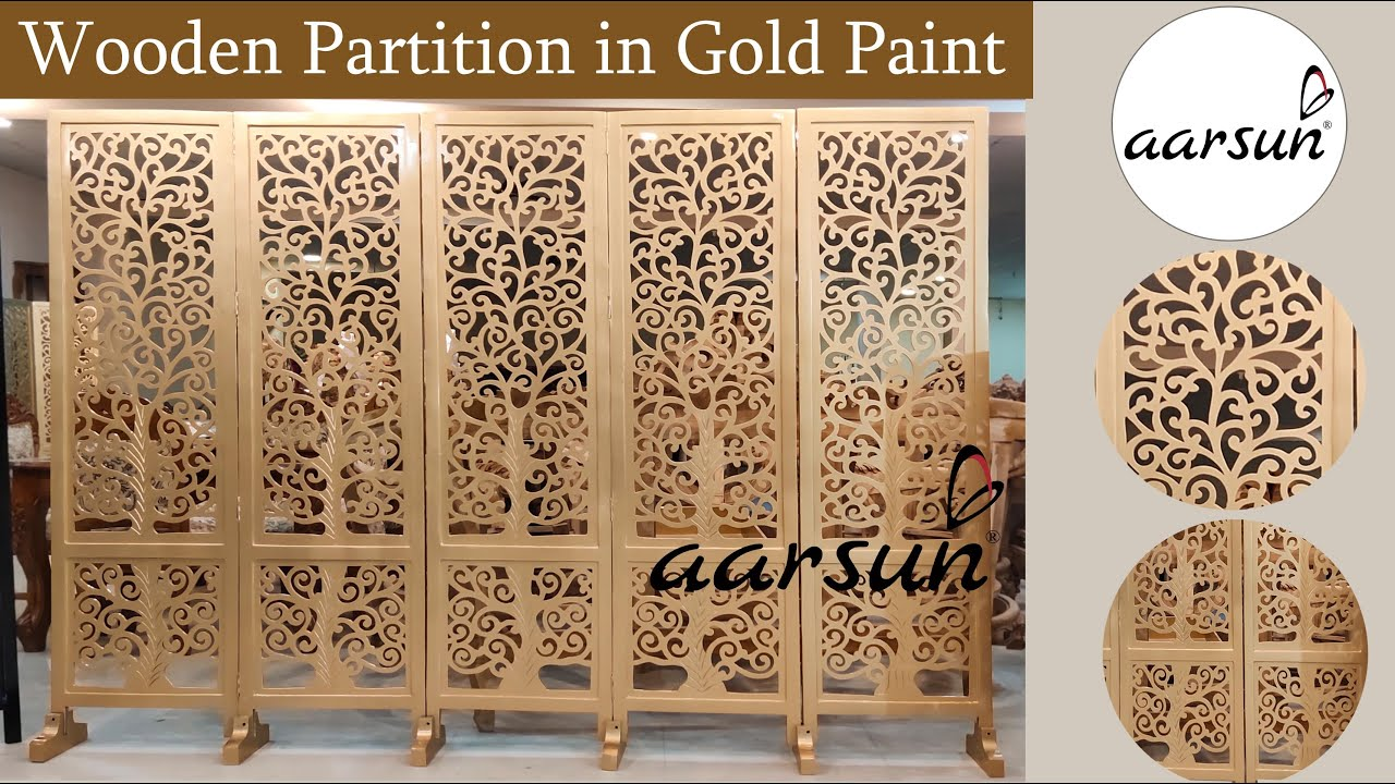 #271 Wood Room Dividers in All Sizes & Panels with Stands Gold & Wood Finish @Aarsun - Art of India
