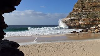 1 hour beautiful hidden beach video viewed from sea cave - relaxing nature video HD 1080P