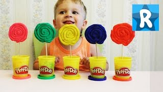 Делаем конфеты Лолипоп из пластилина Плей До Giant Play Doh Lollipops