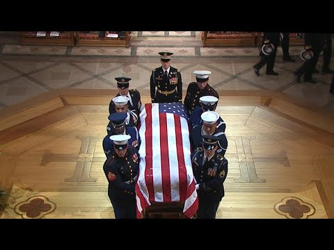 George H.W. Bushs casket enters National Cathedral for funeral service