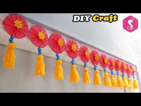 Easy DOOR HANGING TORAN from Old Bangles   Easy Craft   Door Decor Idea