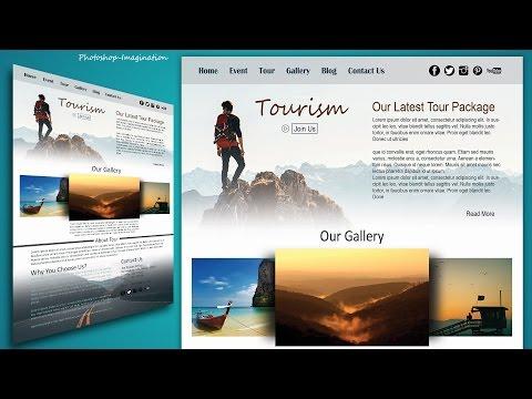 Website Design in Photoshop Tutorial - Stylish Tourism Website Making in Photoshop CC