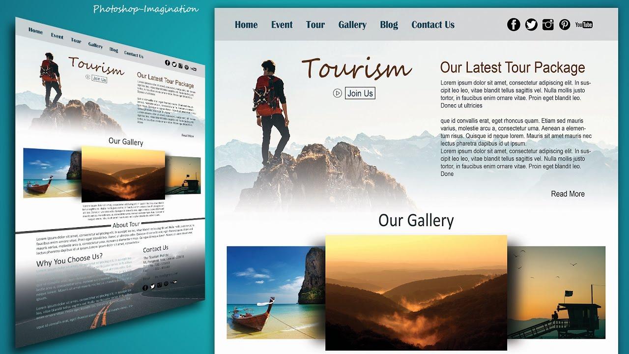Website Design in Photoshop Tutorial - Stylish Tourism Website ...