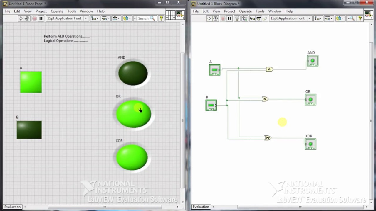 small resolution of logical operations using labview or and xor