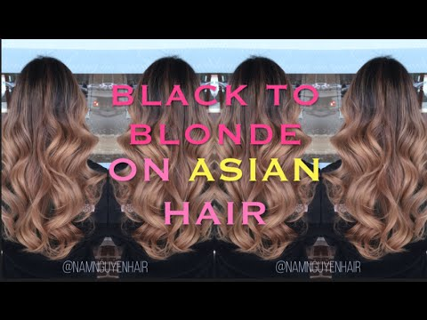 From Black To Blonde Balayage Ombre On Asian Hair Youtube