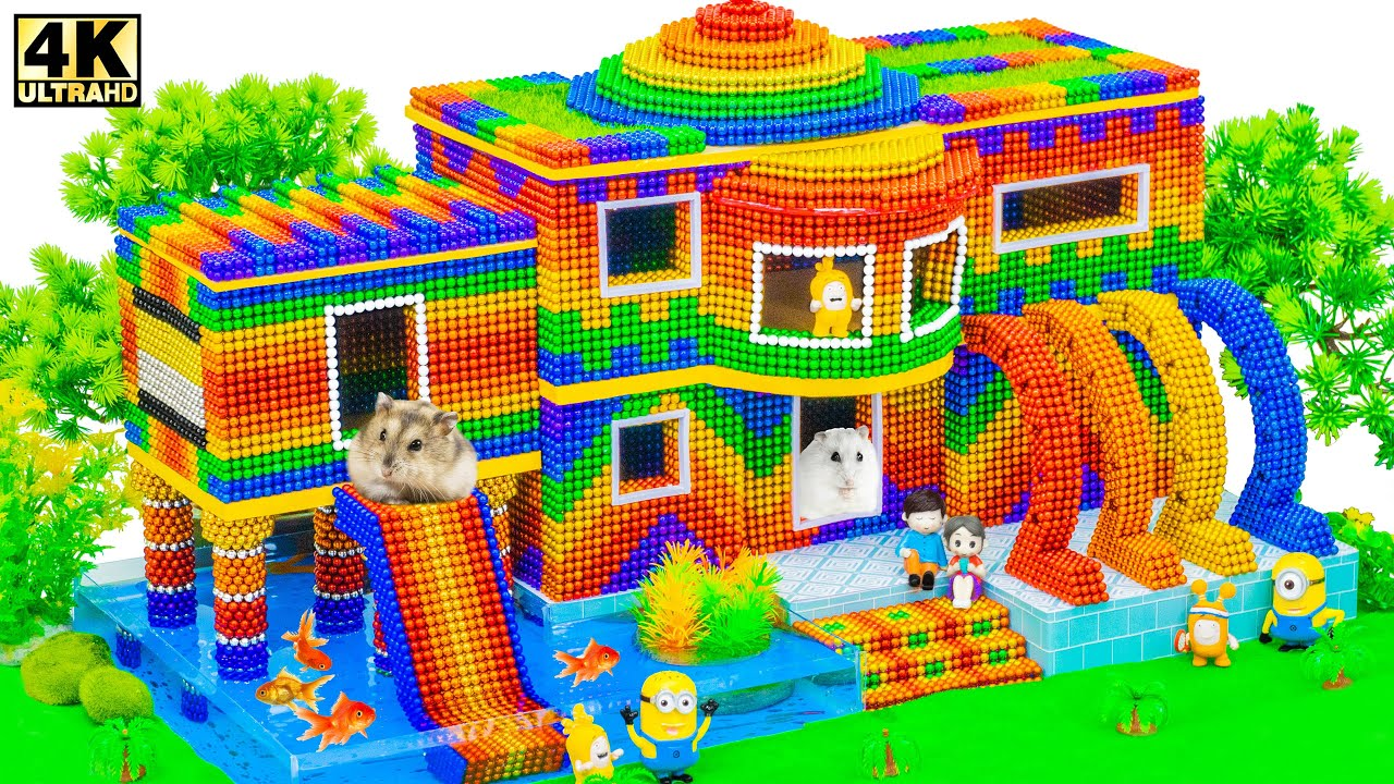 Building The Most Creative House Has Water Slide Pool From Magnetic Balls   Satisfying & Relaxation