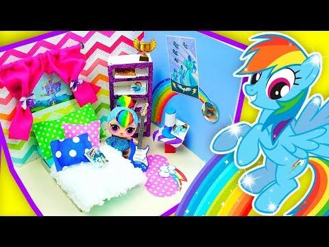 DIY My Little Pony DOLLHOUSE Bedroom FOR DOLLS ❤️ RAINBOW DASH | Not A Kit