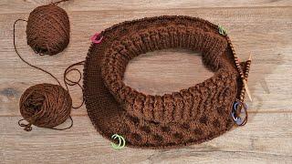 Детская манишка на двух спицах «Пористый шоколад» | Baby neck warmer knitting pattern free