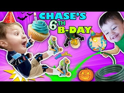 CHASE'S 6th BIRTHDAY! Learning 2 ROLLER SKATE on 1st day of FALL! Ouch! FUNnel Vision Vampire Fangs
