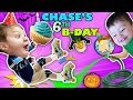 watch he video of CHASE'S 6th BIRTHDAY! Learning 2 ROLLER SKATE on 1st day of FALL! Ouch! FUNnel Vision Vampire Fangs