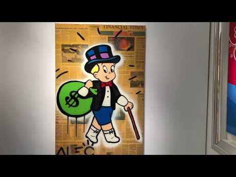 "Alec Monopoly Artwork ""Richie Rich Carrying $ Bag"" Original mixed media painting at Eden Fine Art"