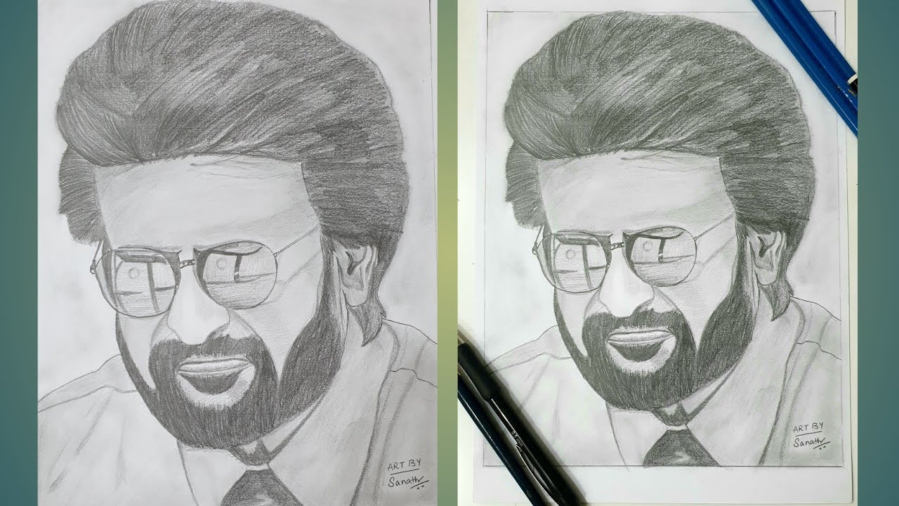Pencil drawing and shading of Super star Rajinikanth-how ...