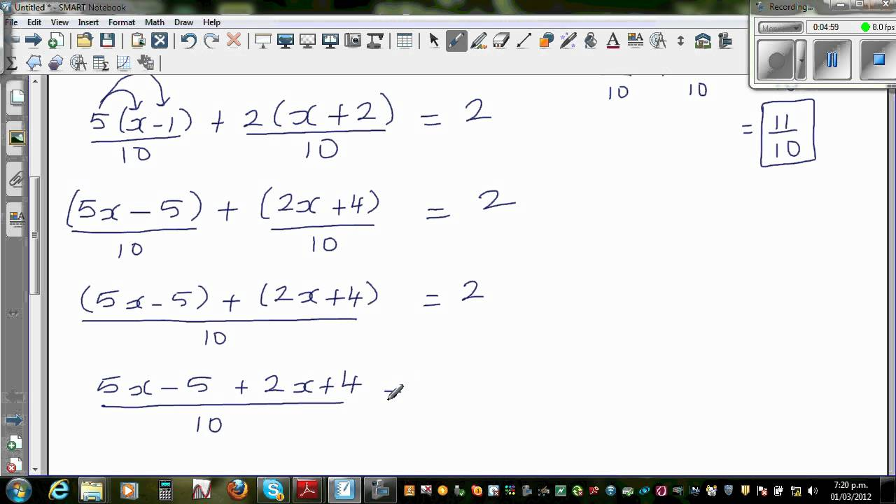 worksheet Linear Equations With Fractions solving linear equation with fractions in two different ways youtube ways