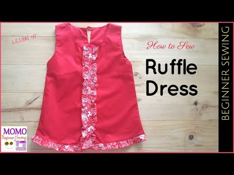 How to Sew: Ruffle Dress - Beginners Sewing Lesson 48 (Free Aline Pattern Hack)