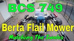 BCS walk-behind tractor (flail mower) pulverizing weeds/brush