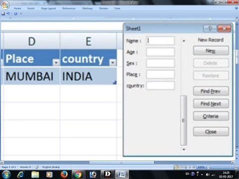 Data Entry Form In Microsoft Excel Spreadsheet Formulas Youtube
