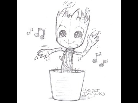 How to draw Groot from guardians of the galaxy. - YouTube