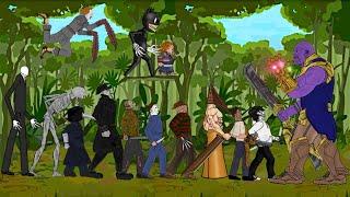 Thanos vs Pyramid Head, Pennywise, Jeff, Jason, Chucky, Freddy, Kong, Slenderman, Cartoon Cat, +More