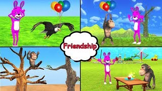 Monkey And Bunny Friendship Moral Stories for kids | Funny Bunny plays magic cartoon for children