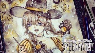 Halloween star witch - Watercolor Speedpaint