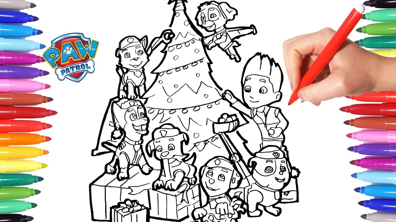 Paw Patrol Decorate The Christmas Tree Coloring Pages Paw Patrol