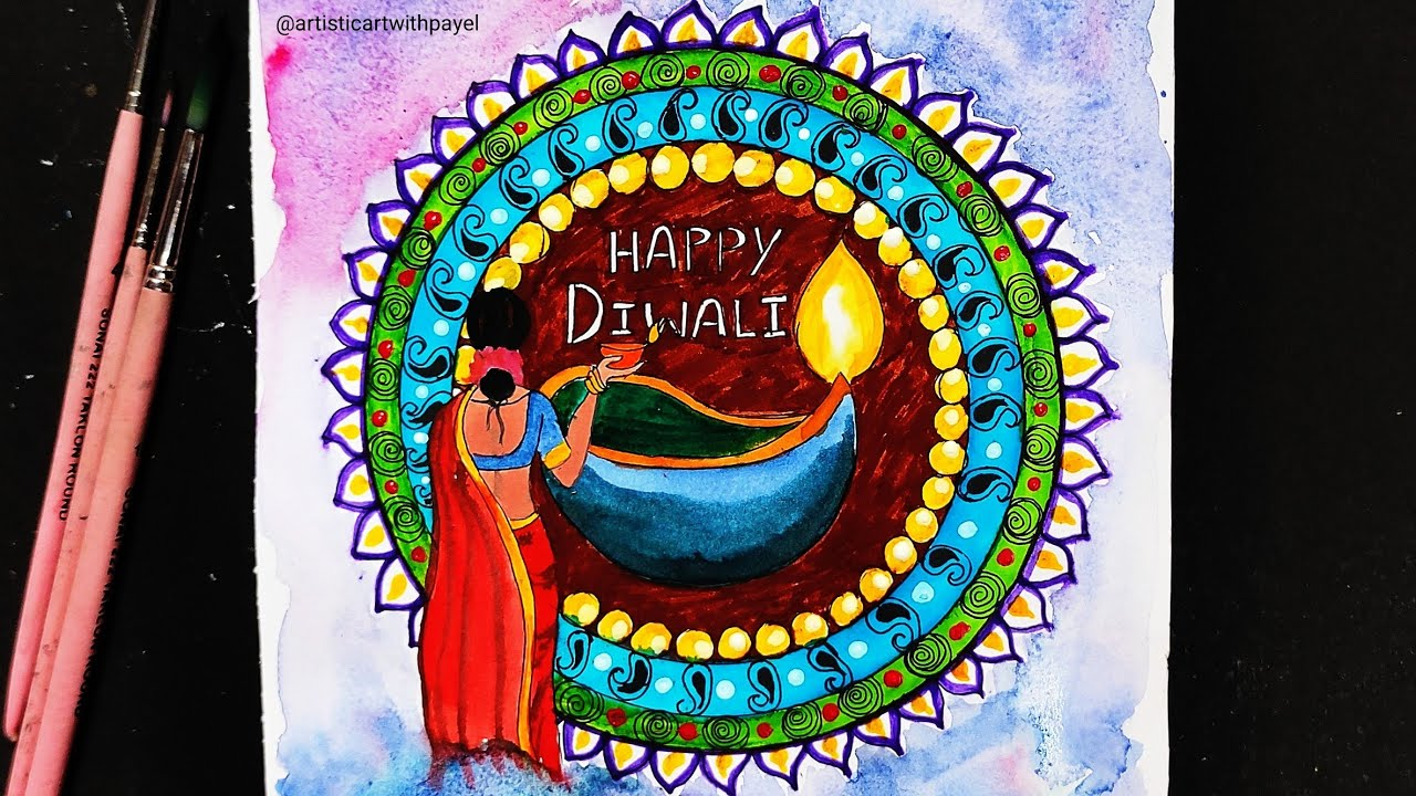 Diwali Painting Ideas How To Draw Diwali Festival Artisticartwithpayel 5th November 2020 Youtube