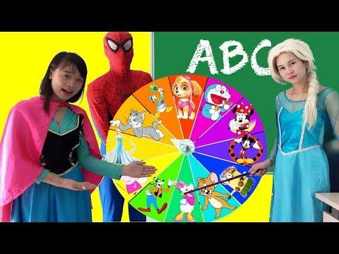 Frozen Elsa & Spiderman AT SCHOOL vs Joker Magic rotation! w/ Teacher Anna Fun Superheroes IRL