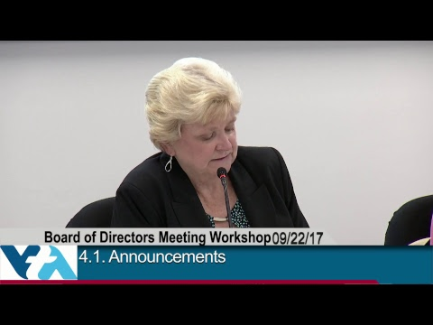 September 22, 2017, VTA Board of Directors Workshop Meeting