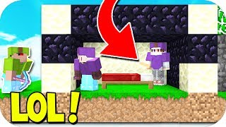BEST KNOCKBACK BED DEFENSE TROLL! (Minecraft BED WARS TROLLING)
