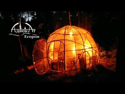 Bushcraft Dome Built From Branches and Plastic Wrap