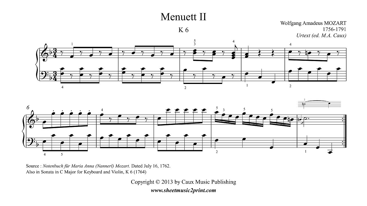 7 Pieces: No. 6, Menuet in F Major