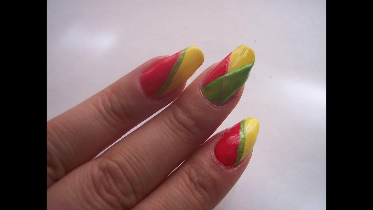 Pink, green, and Yellow nail* Fun summer nails - YouTube