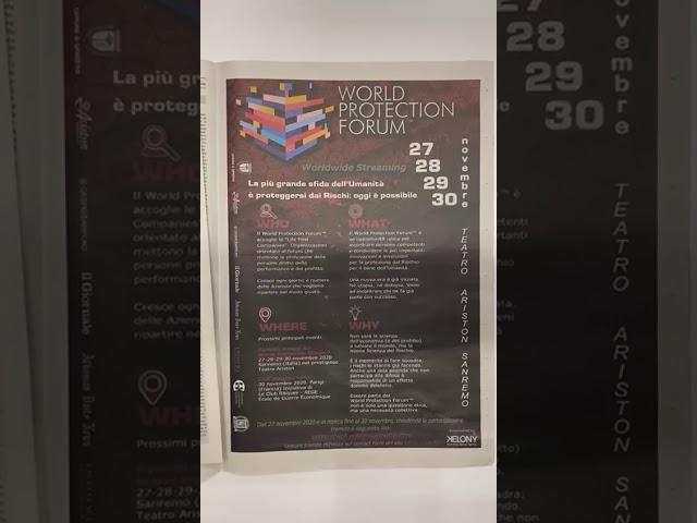 World Protection Forum 27-28-29-30 novembre 2020 - Teatro Ariston di Sanremo