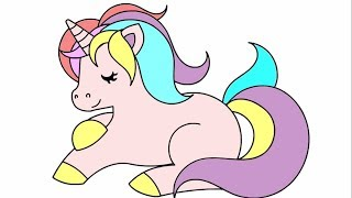 Unicorn Coloring Pages for Kids - How to Draw Cute Unicorn