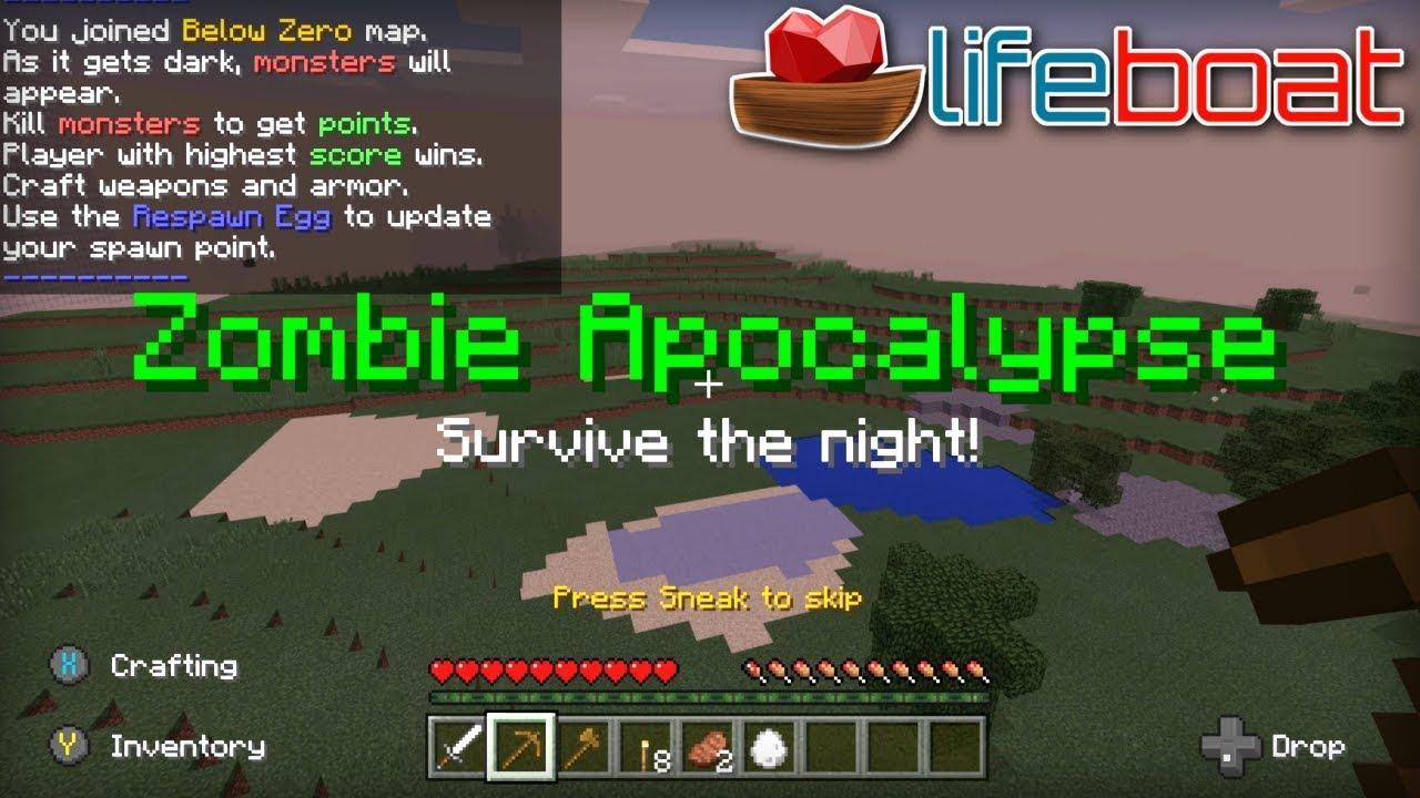 Minecraft Zombie Apocalypse Server Lifeboat Xbox One / MCPE
