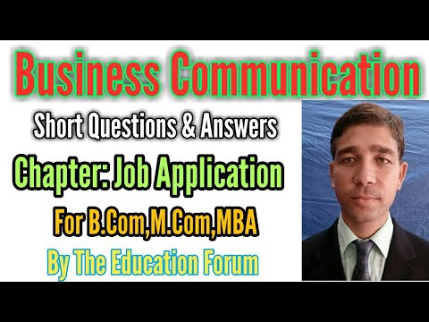 Job Application's Short Questions & Answers Of Business Communication For B.Com, M.Com, MBA..