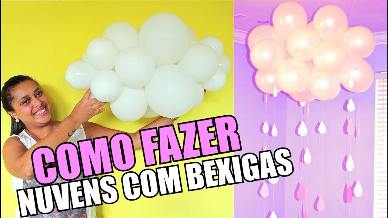 Como Fazer Nuvens De Bexigas Balões Decoração De Festa Vdc Diy