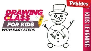 how to draw Christmas snowman | Easy Step by step drawings for beginners/Learn drawing easy