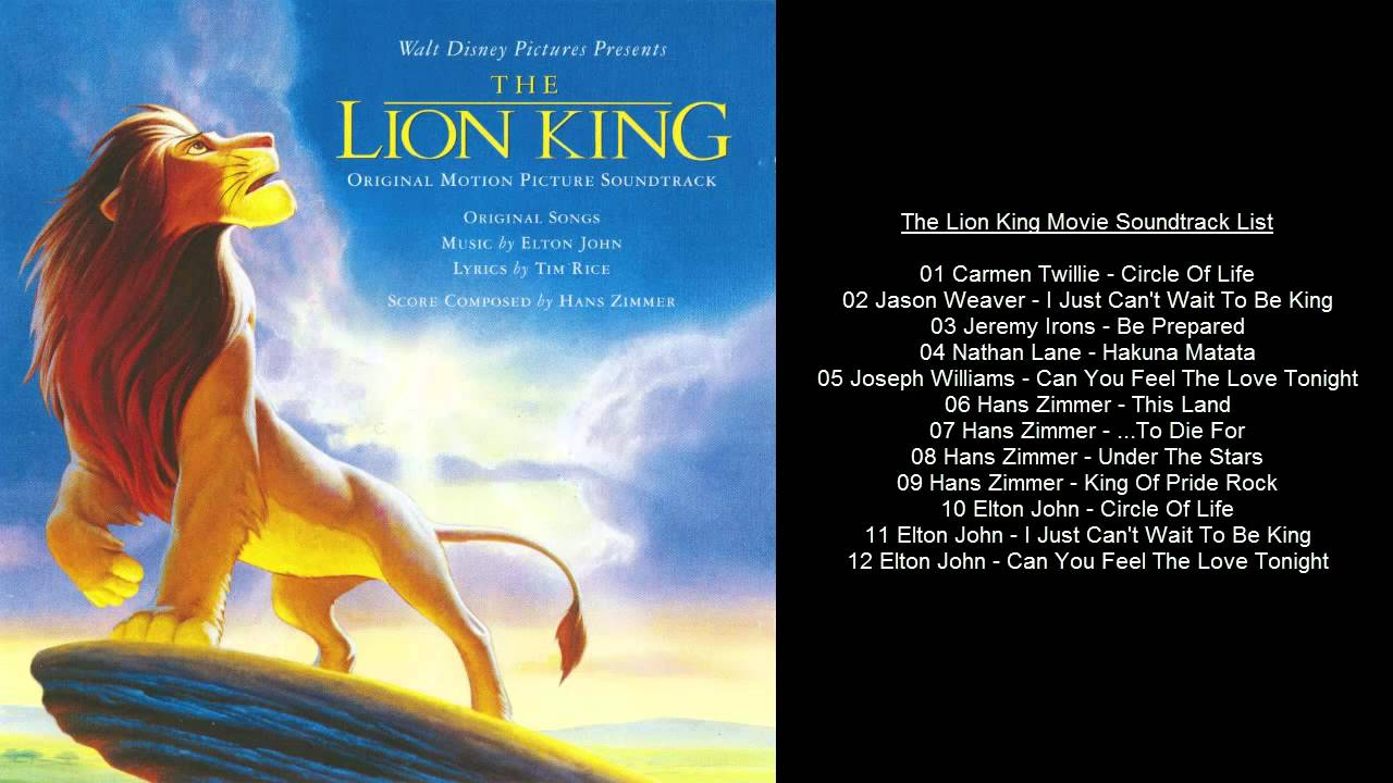 the lion king movie soundtrack list
