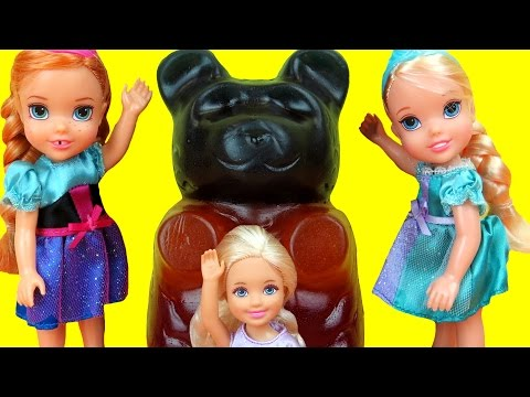 Thumbnail: GIANT Gummy bear ! Candy store - Elsa & Anna toddlers - Barbie is sad, but gets a Gift - Playing