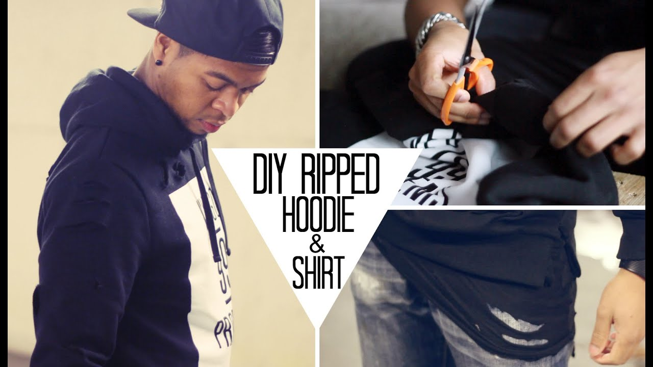Diy ripped hoodie t shirt streetstyle youtube for How to put a picture on a shirt diy