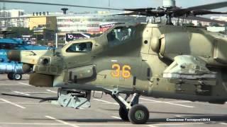 МИ-28 Выброс пламени ВСУ МИ-38,МИ-8 Запуск.Взлет.Проход над МКАД HeliRussia 2014