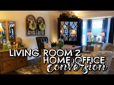 LIVING ROOM TO HOME OFFICE CONVERSION - DECORATE WITH ME!