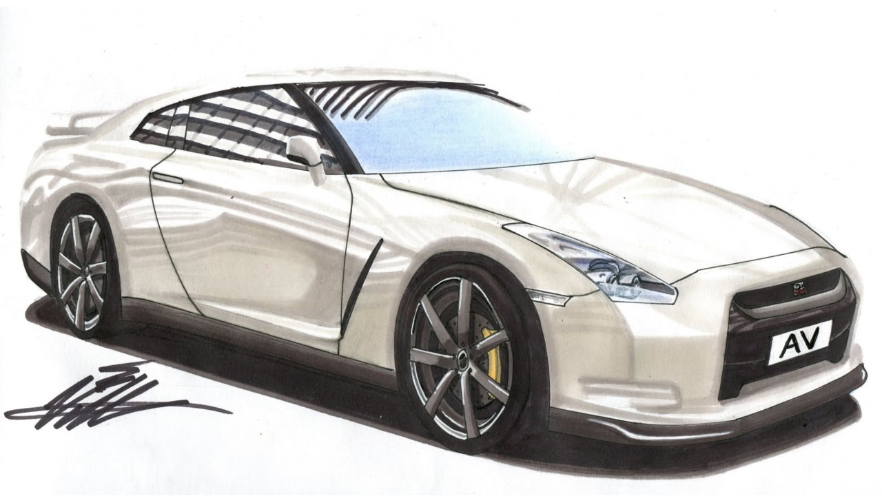 Realistic Car Drawing - Nissan GTR - Time Lapse - YouTube