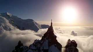 Beautiful Sunset Drone Flight Above the Aiguille du Midi in Chamonix Mont-Blanc, France (DJI)
